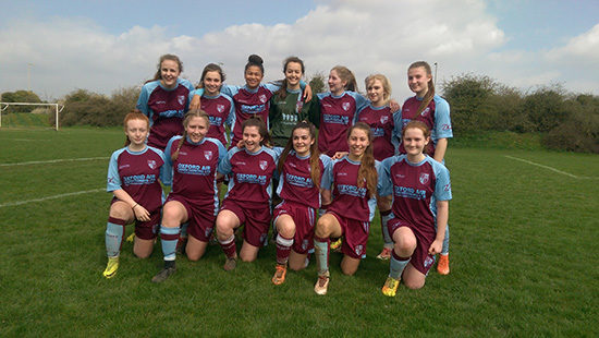 Milton U18's Ladies Winning the Thames Valley Counties Women's Football League on 14th April